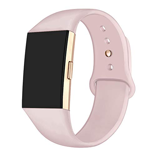 GHIJKL Sports Band Compatible Fitbit Charge 2, Soft Silicone Replacement Wristband for Fitbit Charge 2,Women Men, Small, Sand Pink with Rose Gold Button
