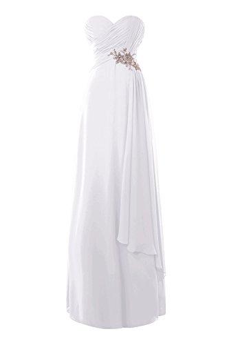 Perline Chiffon Sweatheart Un Bianca Line Vestito Lungo Cristalli Dasior Promenade Donna Da In Da Sera qzR7gwxFE