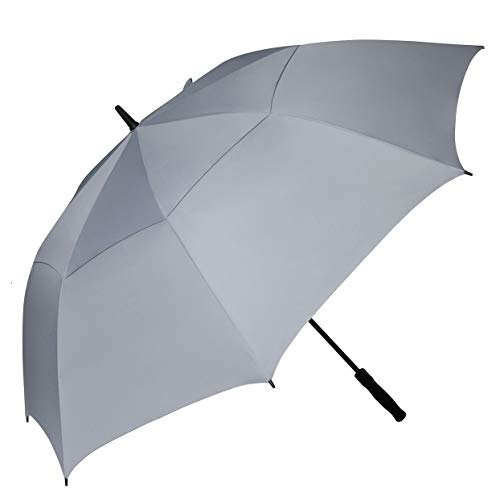 BAGAIL Golf Umbrella 68/62/58 Inch Large Oversize Double Canopy Vented Windproof Waterproof Automatic Open Stick Umbrellas for Men and Women (Double Grey, 62 ()