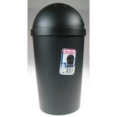 Sterilite 10839006 12 Quart Black Round Swing-Top Wastebasket
