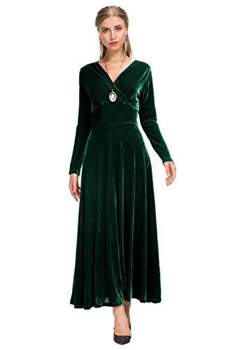Le Vonfort Womens Velvet Crossover V-Neck Fit and Flare Dress Dark Green Large