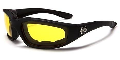 Gafas de sol envolventes para la conducción nocturna / gafas para el motociclismo con nariz/ojos reforzados para el máximo confort. Ofrecen protección ...