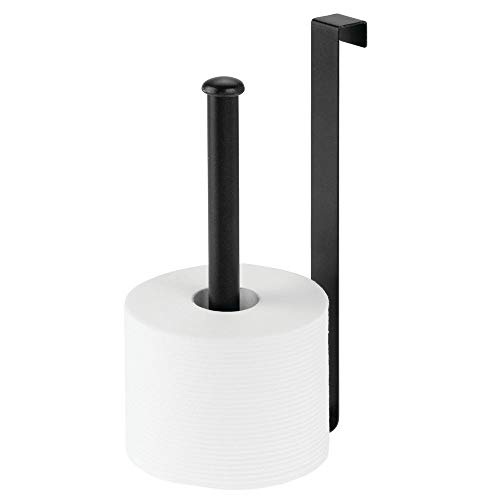 mDesign Metal Wire Over The Tank Toilet Tissue Paper Roll Holder Dispenser and Reserve for Bathroom Storage and Organization - Hanging, Holds 2 Rolls - Matte Black