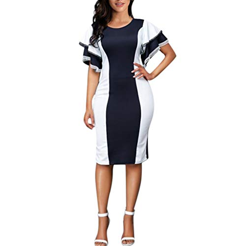 - Caopixx Women Plus Size Summer Dress Sexy Elegant O-Neck Lace Work Office Party Evening Dresses Navy