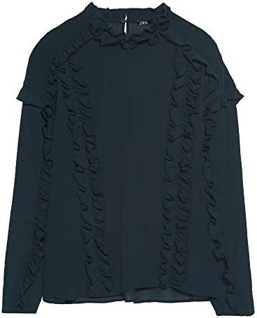 Zara 3666/185 blusa con volantes para mujer - Verde - X-Large ...