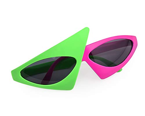 PLAY BLING Novelty Party Sunglasses 80s Asymmetric Glasses Hot Pink and Neon Green Glasses Hip Hop Dance Halloween Party ()