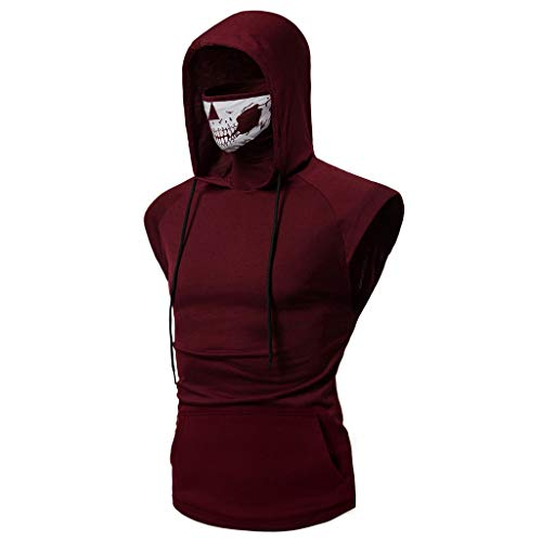 Sunmoot Independence Day Hooded T Shirt Mens Slim Fit Sports Tops Skull Mask Print Fitness Vest Short Sleeve Open-Forked Male ()