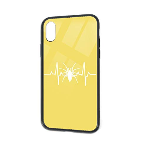 Anti-Scratch Spider Heartbeat Halloween Glass Back Phone Case for iPhone X iPhone Xs