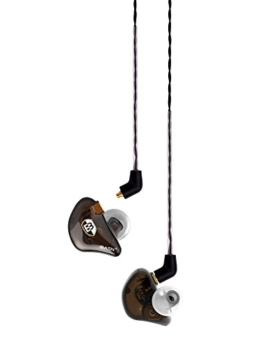 BASN In-ear Monitor Headphones MMCX Cable Noise Cancelling Hifi Earbud Headsets Singer Drummer Earphones (BC100 brown)