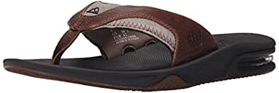 Reef Men's Leather Fanning Sandal, Brown/Brown, 4 M US
