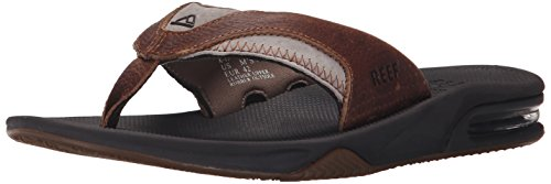 (Reef Men's Leather Fanning Sandal, Brown/Brown, 12 M US)