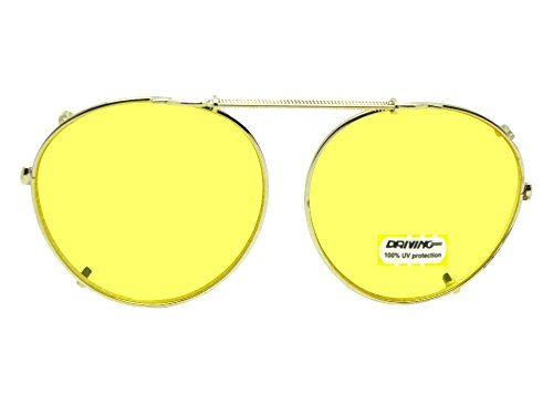 Semi Round Non Polarized Lite Yellow Clip On Sunglasses (Gold-Light Yellow NON Polarized Lens, 50mm Wide x 47mm - Non Prescription Tinted Glasses Lightly