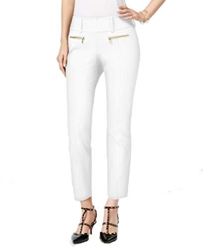 (INC International Concepts Petite Straight-Leg Cropped Zipper-Pocket Pants (Bright White, 12P))