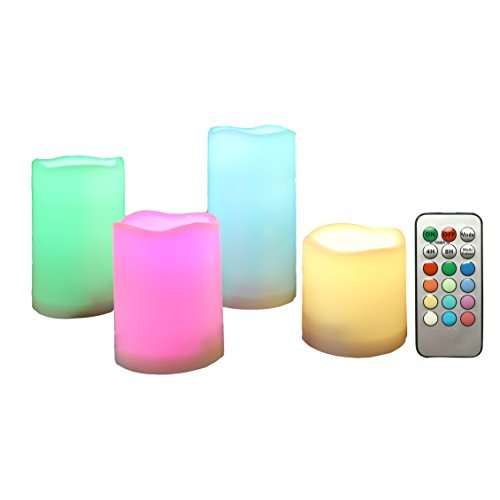 Candle Choice Outdoor Color Changing Flameless Candles with Remote Timer Plastic Realistic Flickering Multi-color Battery Operated LED Pillar Party, Wedding Birthday Home Holiday Décor Gifts 4 Pack