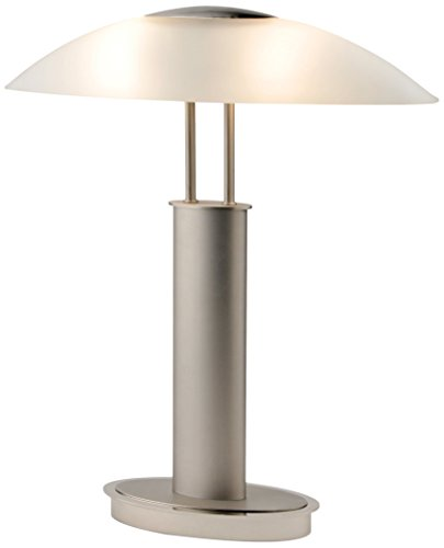 "Artiva USA LED9476 Avalon Plus Modern 2-Tone Satin Nickel LED Touch Table Lamp with Oval Frosted Glass Shade, 18.5"", Brushed Steel"