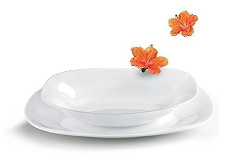 18 Piece Square White Opal Glass Dinner Service Set from Bormioli Rocco Parma - 6 Setting  sc 1 st  Amazon UK & 18 Piece Square White Opal Glass Dinner Service Set from Bormioli ...