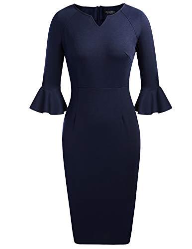 ANGGREK Womens Flounce Bell Sleeve V-Neck Office Work Bodycon Pencil Dress