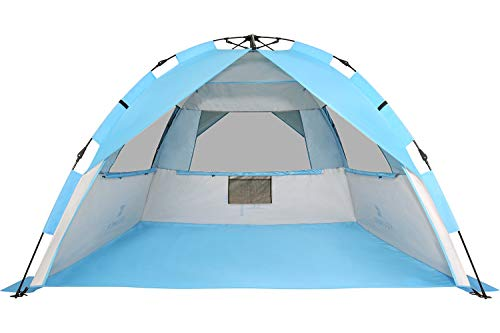 G4Free Easy Set up Beach Tent Pop up Sun Shelter Large Family Beach Shade UV Protection for Kids Family,4 Person Portable Camping Shelter for Outdoor Sports Beach Tour Hiking Fishing or Picnic