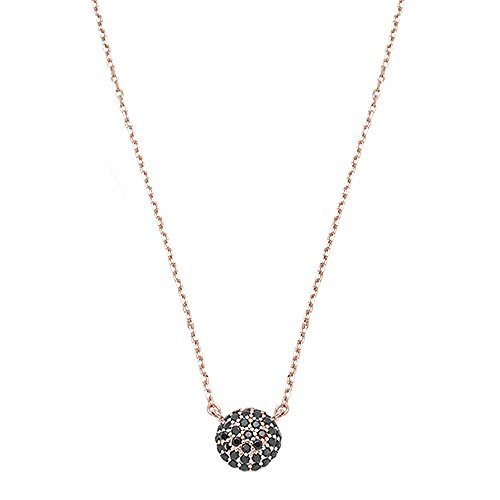 Pave Black Onyx - Oxford Diamond Co Sterling Silver Rose Gold Plated Round Pave Black Onyx Necklace 16