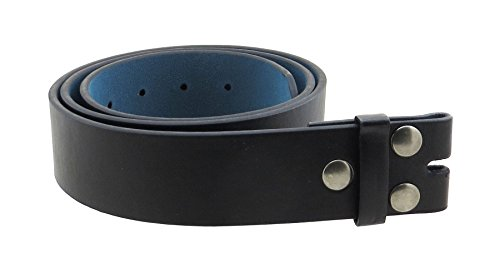 Black Skull Belt Buckle - Leather Belt Strap with Smooth Grain Finish 1.5