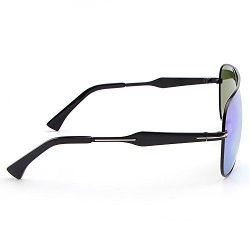 Color Gafas de la Coloridas de Sol de Manera de Gafas Sol Gafas Hombres la Manera Blue los Blue de polarizadas Retro Ruanyi Caja con la 6FBwdqw
