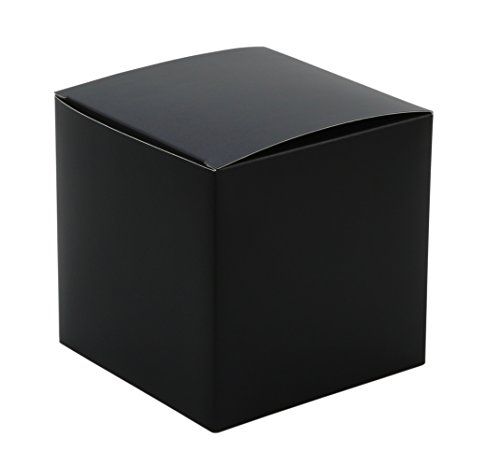 Iconikal 4 x 4 x 4 inch Gift Or Favor Box, Black, (Black Favor)