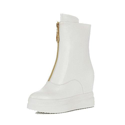AllhqFashion Damen Rund Zehe Hoher Absatz Weiches Material Rein Stiefel mit Metallisch, Weiß, 43