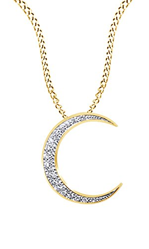 Jewel Zone US Round Cut Cubic Zirconia Crescent Moon Pendant Necklace in 14K Yellow Gold Over Sterling Silver