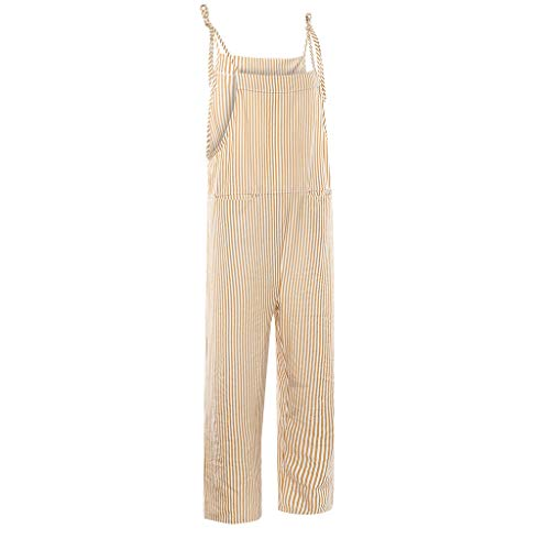 Big And Tall Plus Size S-5XL Transser Womens Summer Casual Cotton Linen Plain Long Rompers Jumpsuit V Neck Sleeveless Button Pantsuit with Pockets