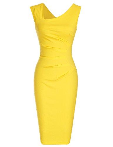 MUXXN Women's 1950s Sleeveless Slim Business Pencil Dress (M,Yellow) (Yellow Casual Dress)