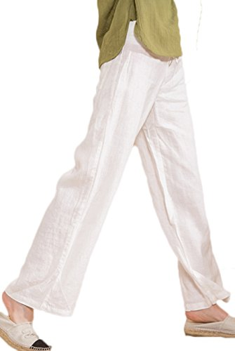 Ecupper Women's Elastic Drawstring Linen Loose Trousers Lady's Plus Size Tied Waist Pants White 2XL