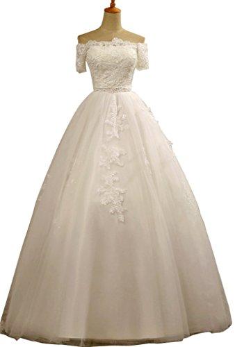 Drasawee Damen A-Linie Kleid Weiß Weiß