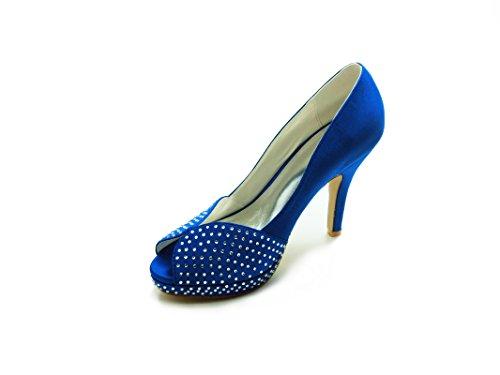 37020 Blue Da Donna Jia Strass Di Peep Tacco Scarpe Spillo A Raso Sposa Toe Piattaforma Pompe 5ZwTqxIRT