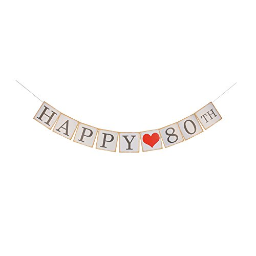 Happy 80th Banner, 80th Birthday Party Decorations, White & Black Letters Banner ()
