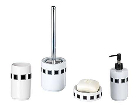 WENKO 4 unidades Accesorios baño SET WC-garnitur jabonera dispensador de jabón líquido para cepillos de dientes mosaico porcelana gris/negro: Amazon.es: ...