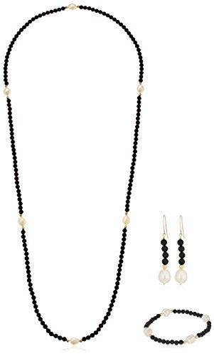 (14k Yellow Gold 8-8.5 mm White Freshwater Cultured Pearl and 4 mm Simulated Black Onyx Jewelry)
