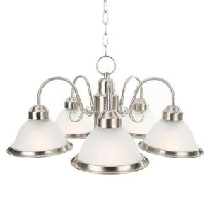 Commercial Electric Halophane 5-light Brushed Nickel Chandelier