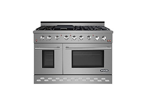 NXR SC4811 48″ 7.2 cu.ft. Professional Style Gas Range with Convection Oven, Stainless Steel