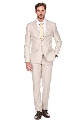 Milano Vichee Men's Suit Slim Fit Pick Lapel Two Button 2 Pieces Set (Jacket+Pant) Tuxedo Business Wedding Party Casual Color :Champagne
