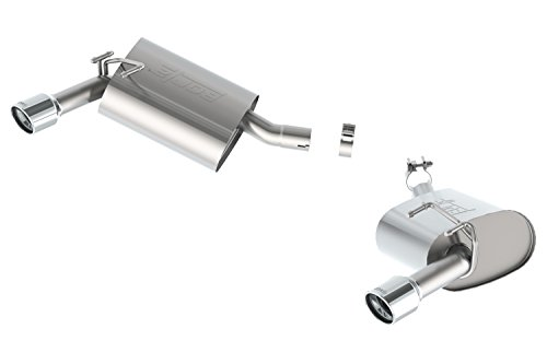 (Borla 11845 S-Type Axle-Back Exhaust System 2.25 in. Incl. Connecting Pipes/Mufflers/Hardware/3.5 in. x 4.5 in. Single Round Rolled Angle-Cut Tip Split Rear Exit S-Type Axle-Back Exhaust)