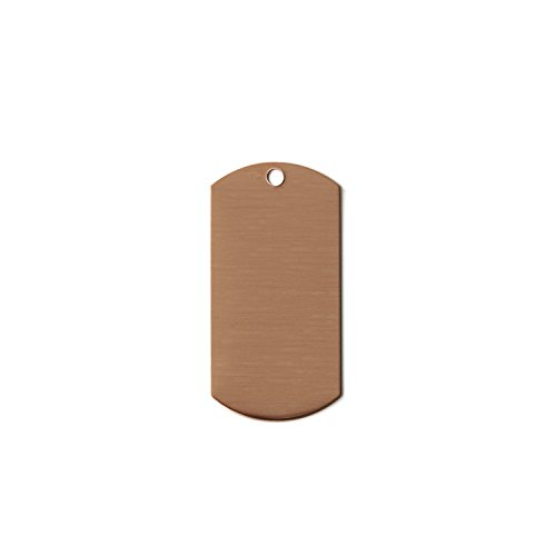 RMP Stamping Blanks, 1 Inch x 2 Inch Dog Tag with One Hole, 16 oz. Copper 0.021