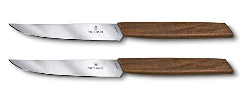"Victorinox 6.9000.12G Swiss Modern 2-Piece Steak Knife Set, 5"", Walnut Wood"