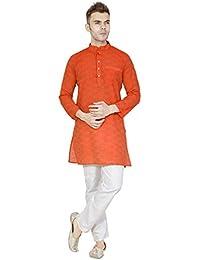 SKAVIJ Men's Cotton Kurta Pajama Set Casual Dress
