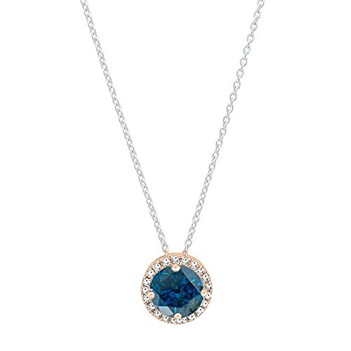 Dazzlingrock Collection 0.35 Carat (ctw) 14K Round Blue & White Diamond Ladies Halo Pendant, Rose Gold ()