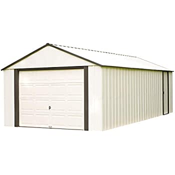 Arrow Shed VT1224 12 x 24 ft. High Gable Coffee/Almond Steel Storage Shed, Walls/Roof/Doors/Gables & Coffee Trim