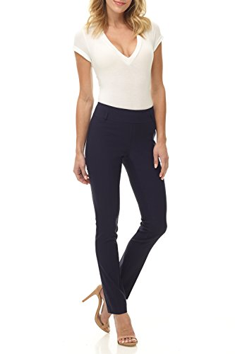 Rekucci Women's Ease in to Comfort Fit Stretch Slim Pant (6SHORT,Navy)
