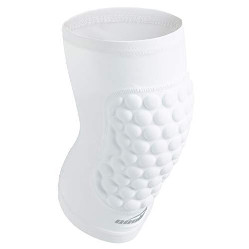 COOLOMG Pad Crashproof Antislip Basketball Leg Knee Short Sleeve Protector Gear (1 Piece), White, Medium