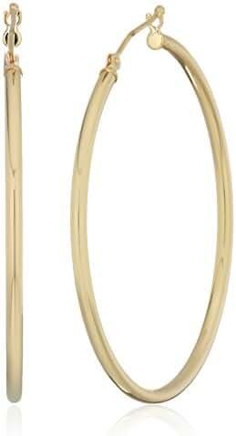 14k Yellow Gold Hoop Earrings, 1.5