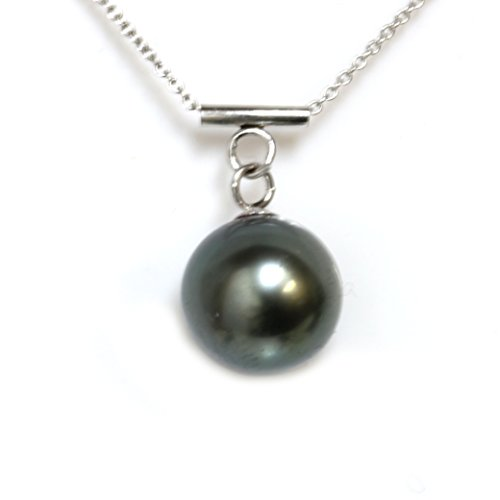 Mikimoto Pearl Pendant (tahitian pearl necklace 14kt Solid White Gold 9 - 9.5 MM AAA Quality 18