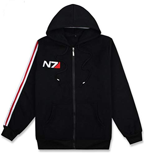 DOUJIONG Mass Effect N7 Commando Logo with Zipper Long Sleeve Hooded Jacket (XXXL, Thick Section)